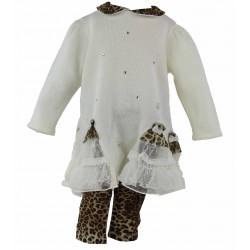 abito in lana con tulle e maculato
