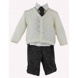 completo da bambino con maglia lavorata