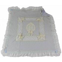 coperta in lana con angelo su tulle