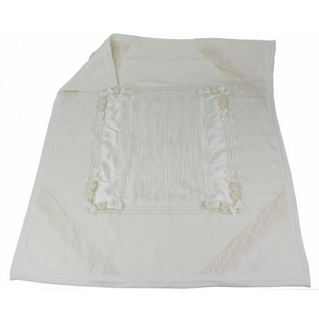 coperta in lana e applicazioni taffetà