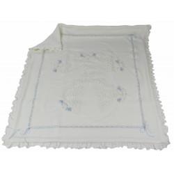 coperta in lana con applicazione di tulle